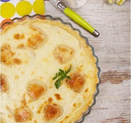Receta Ybarra quiche de pera con queso de cabra
