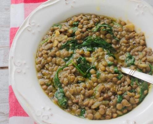 receta ybarra de lentejas con espinacas