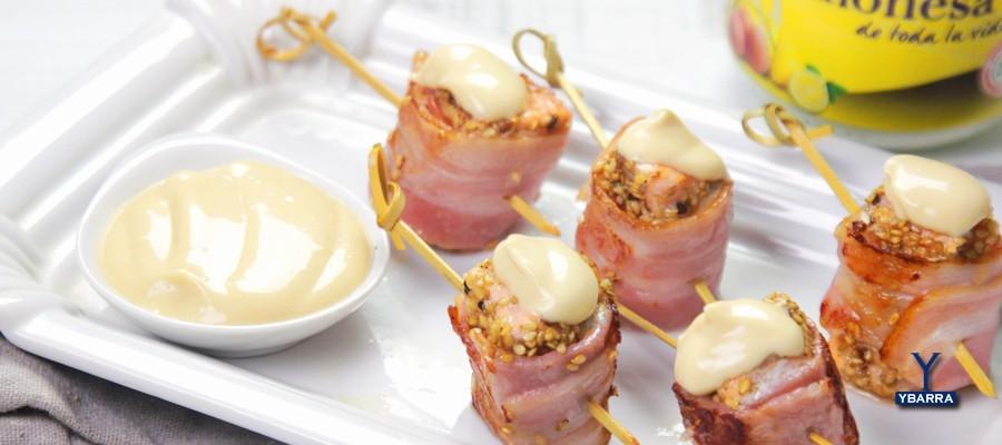 receta ybarra de rollitos de salmon bacon mayonesa ybarra