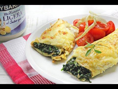 Rollito de Tortilla, Espinacas y Queso