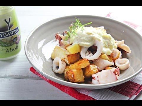 Calamares con Patatas y Alioli Ybarra