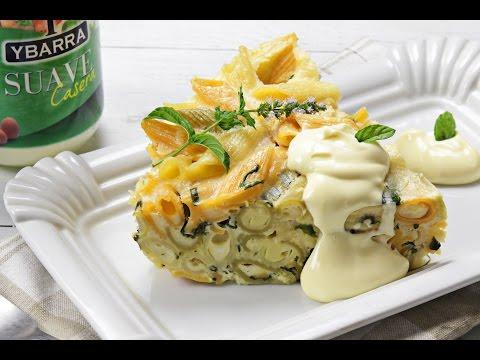 Pastel de macarrones y espinacas con Suave Casera Ybarra