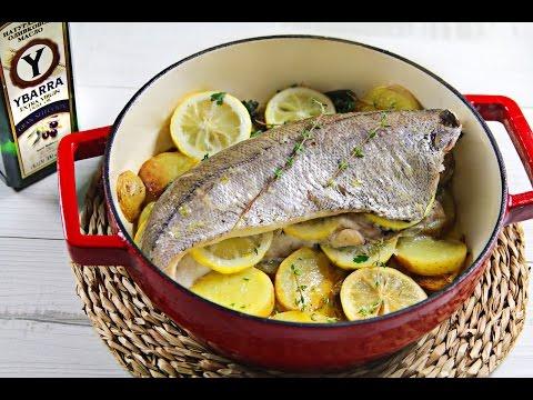 Pescadilla al horno con hierbas, limón y Virgen Extra Ybarra