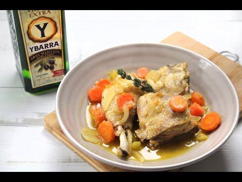 Pollo a la Cazadora con Ybarra Virgen Extra