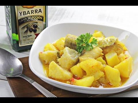 Guiso de Patatas con Bacalao y Virgen Extra Ybarra