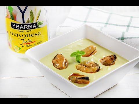 Crema fría de espárragos y mayonesa Ybarra