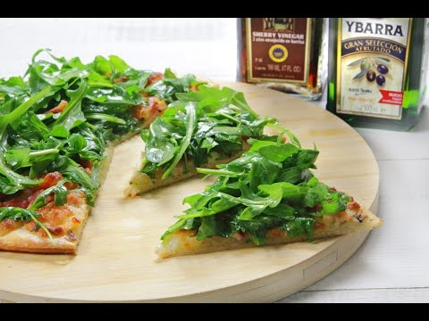 Pizza blanca de rúcula y aceite de oliva virgen extra Ybarra