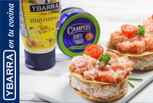 Milhojas de crema de bonito, salmón y mayonesa Ybarra