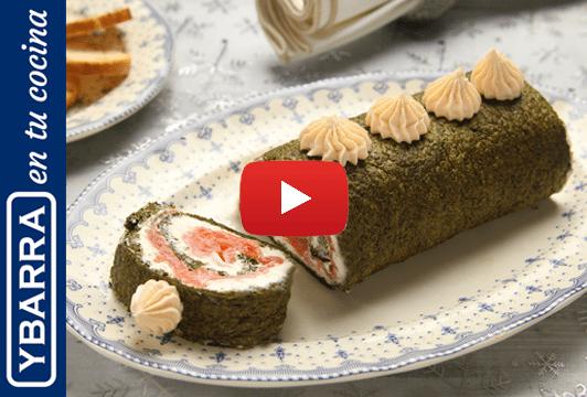 Pionono de espinacas y salmón