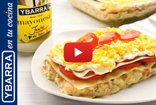 Lasaña de verano con mayonesa Ybarra