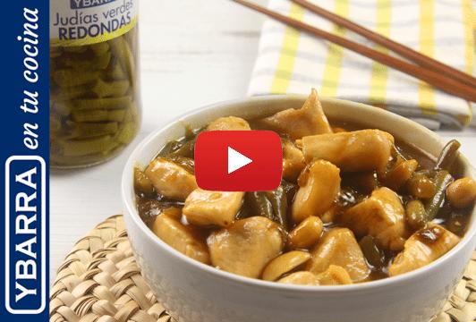 Pollo chino con judías verdes