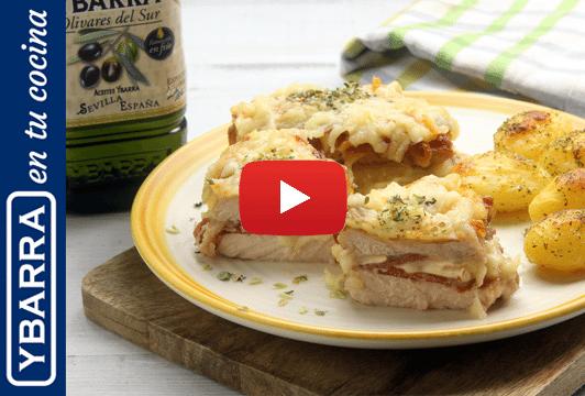 Milhojas de lomo, jamón y queso