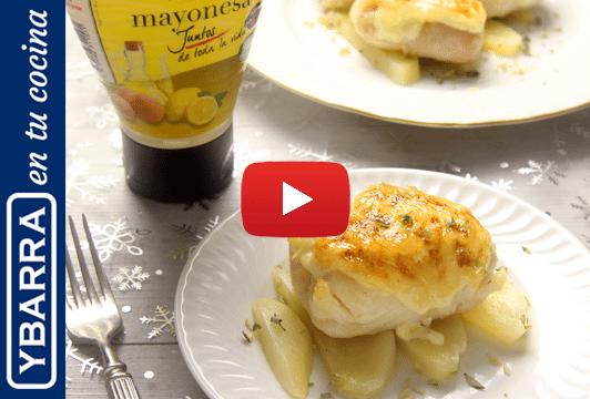 Merluza gratinada con mayonesa de pera