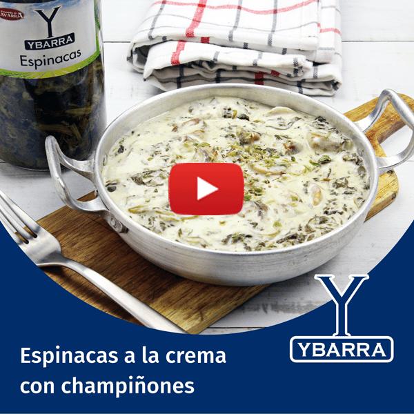 Espinacas Ybarra a la crema con champiñones