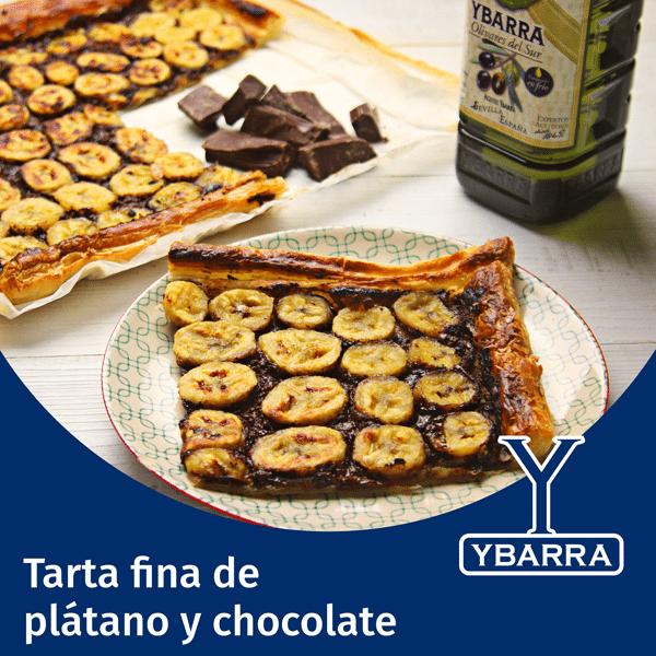 Tarta fina de chocolate y plátano