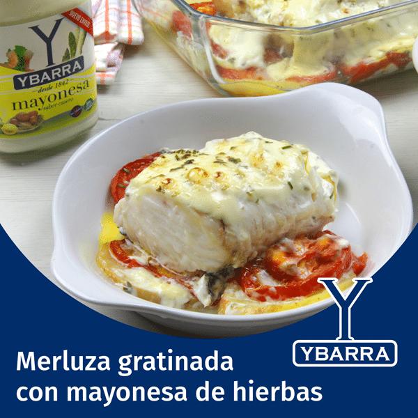 Merluza gratinada con mayonesa a las finas hierbas