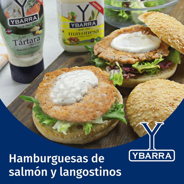 Hamburguesas de salmón y langostinos