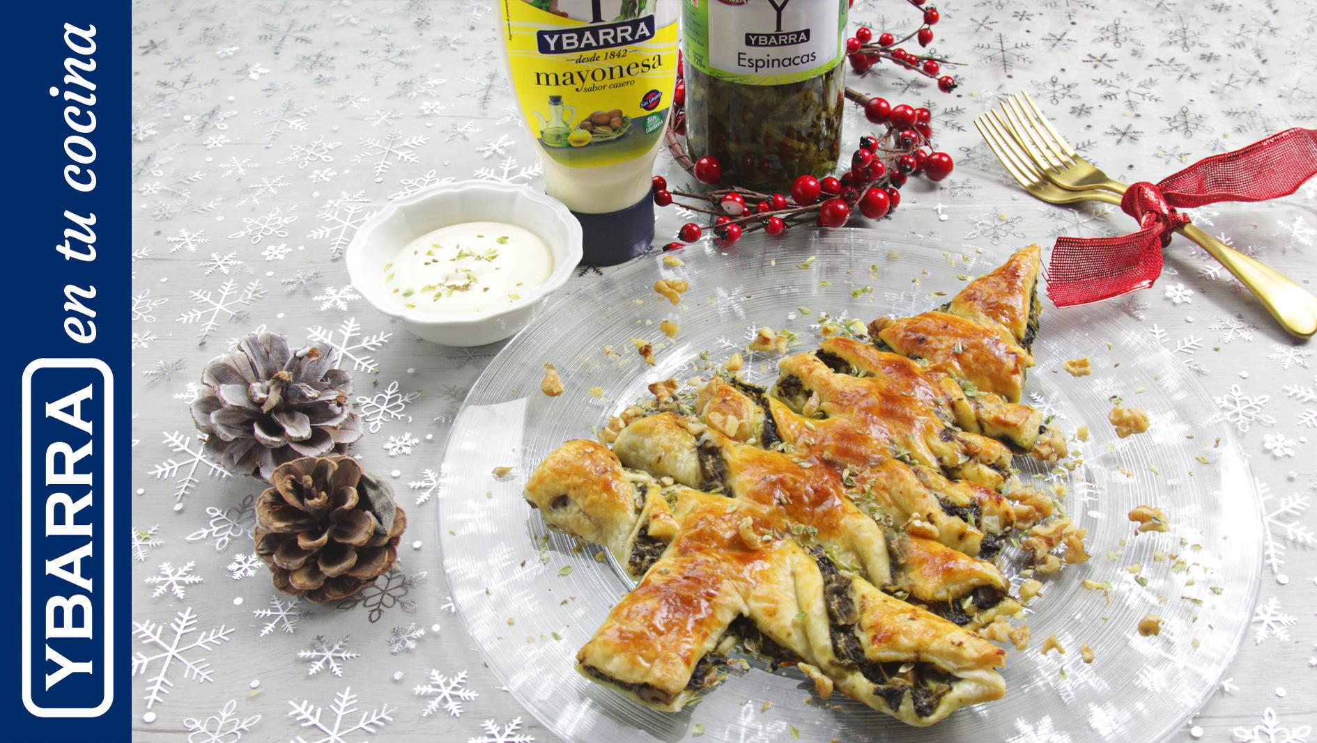 Árbol de hojaldre con crema de espinacas