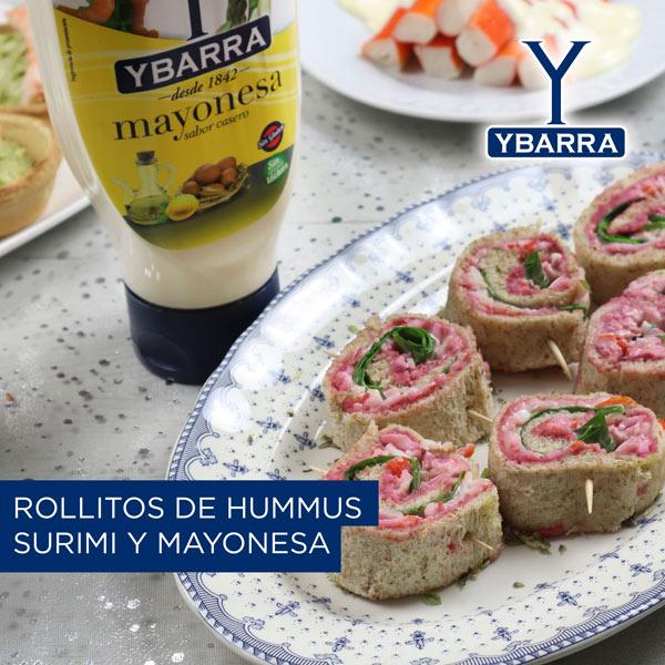 Rollitos de hummus y mayonesa