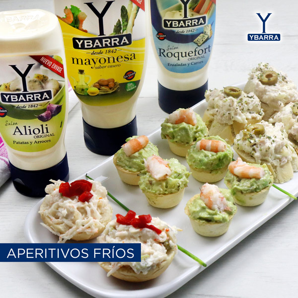 Aperitivos para fiestas y celebraciones con salsas Ybarra