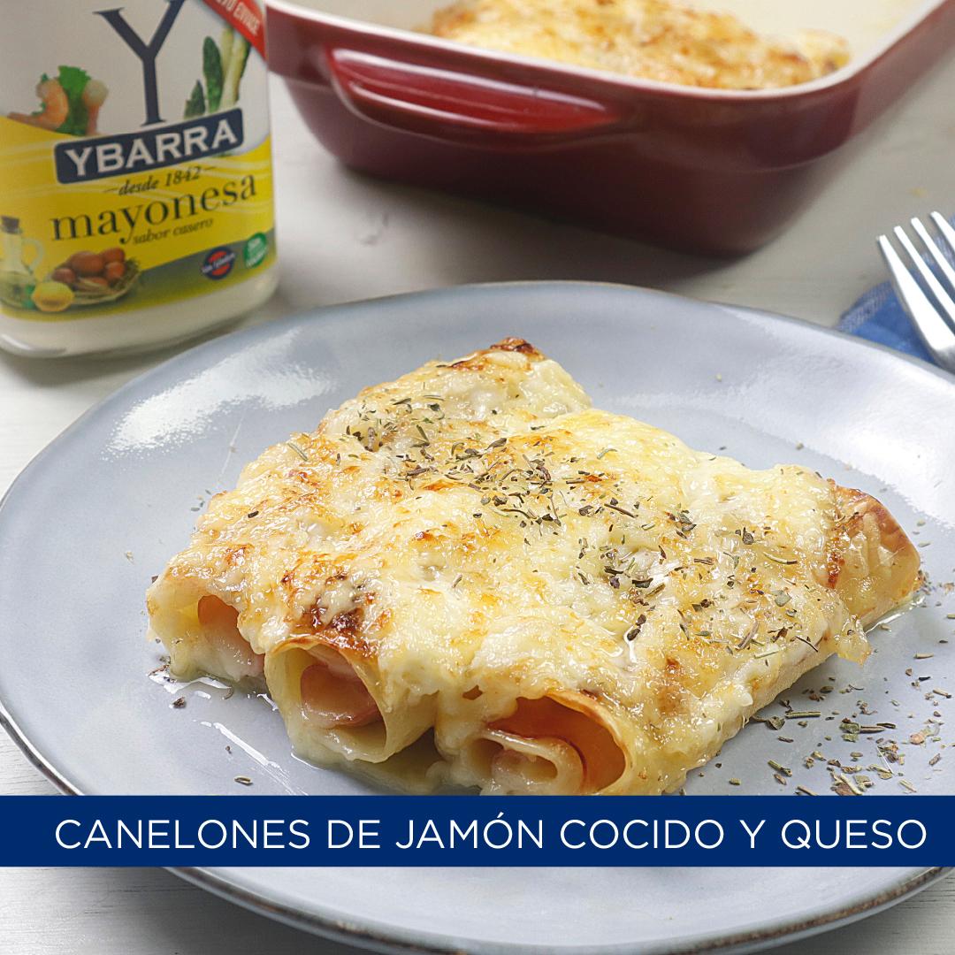 Canelones de jamón cocido y queso con mayonesa