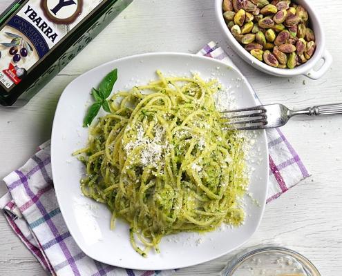 receta ybarra de espaguetis al pesto de pistacho en aceite virgen extra
