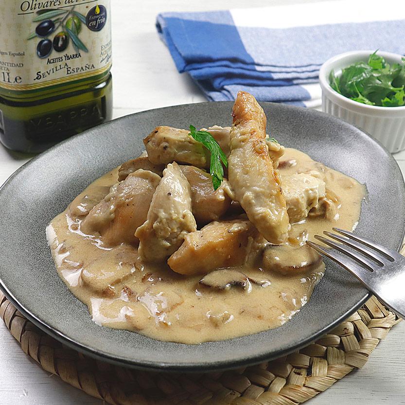 recetas ybarra de pollo con salsa de champiñones