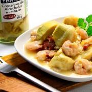 recetas ybarra alcachofas con langostinos y jamón