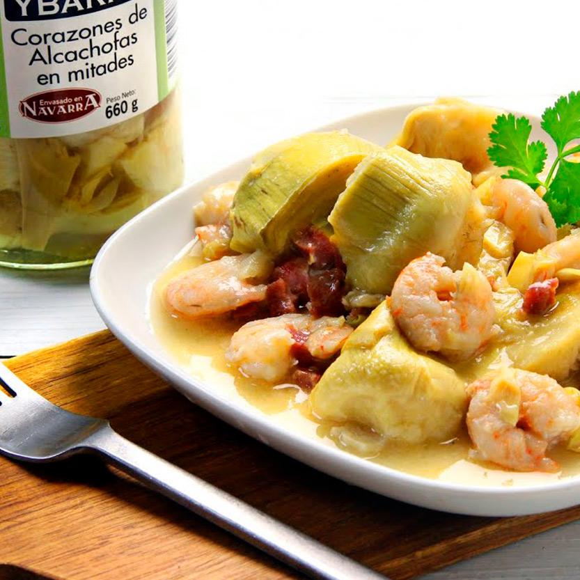 recetas ybarra alcachofas con langostinos