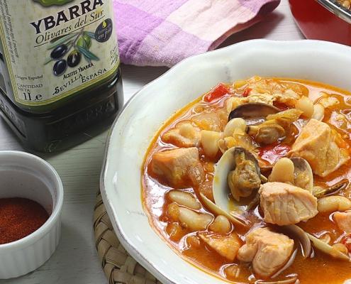 recetas ybarra alubias con salmon y aceite virgen extra