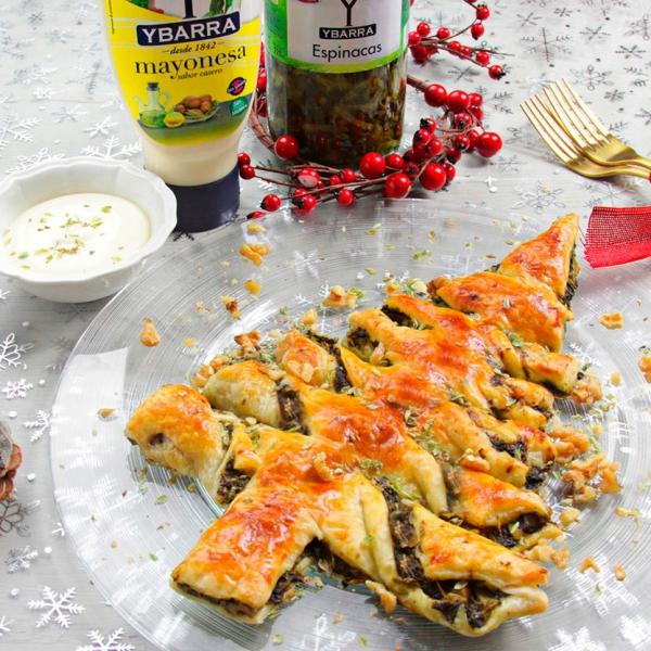 receta ybarra de arbol de navidad con hojaldre y mayonesa