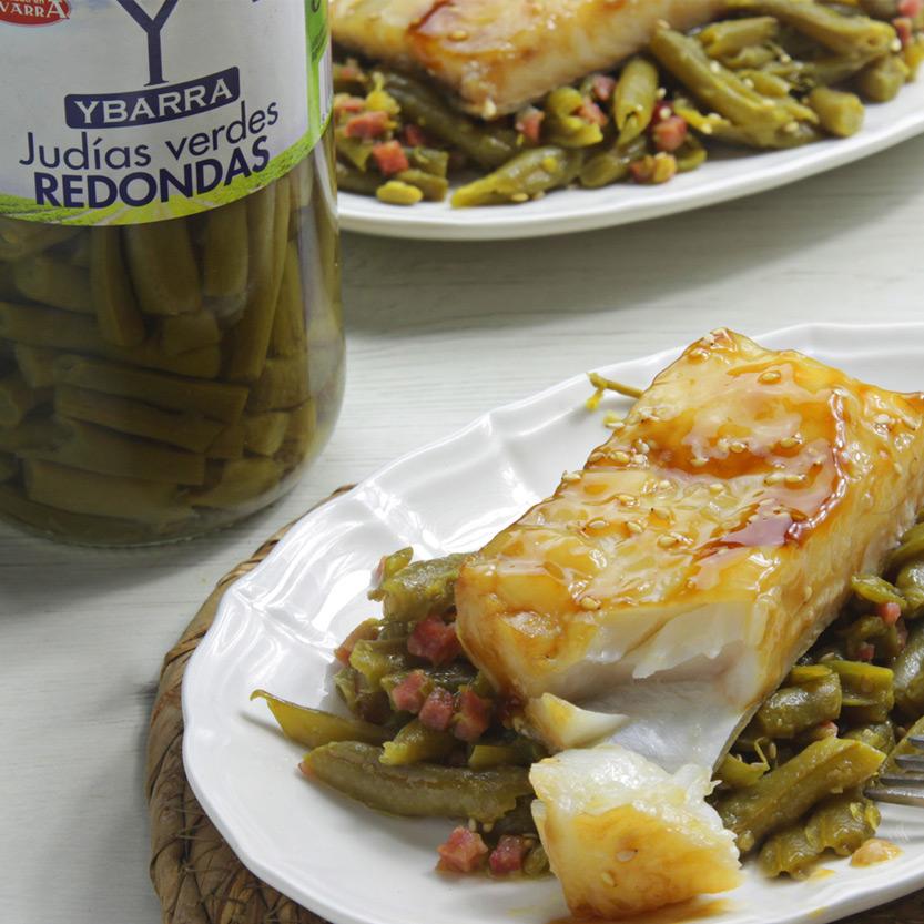 recetas ybarra bacalao al teriyaki con judias verdes