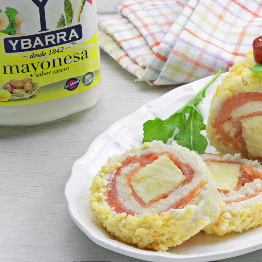 recetas ybarra brazo gitano de tortilla y salmon con mayonesa