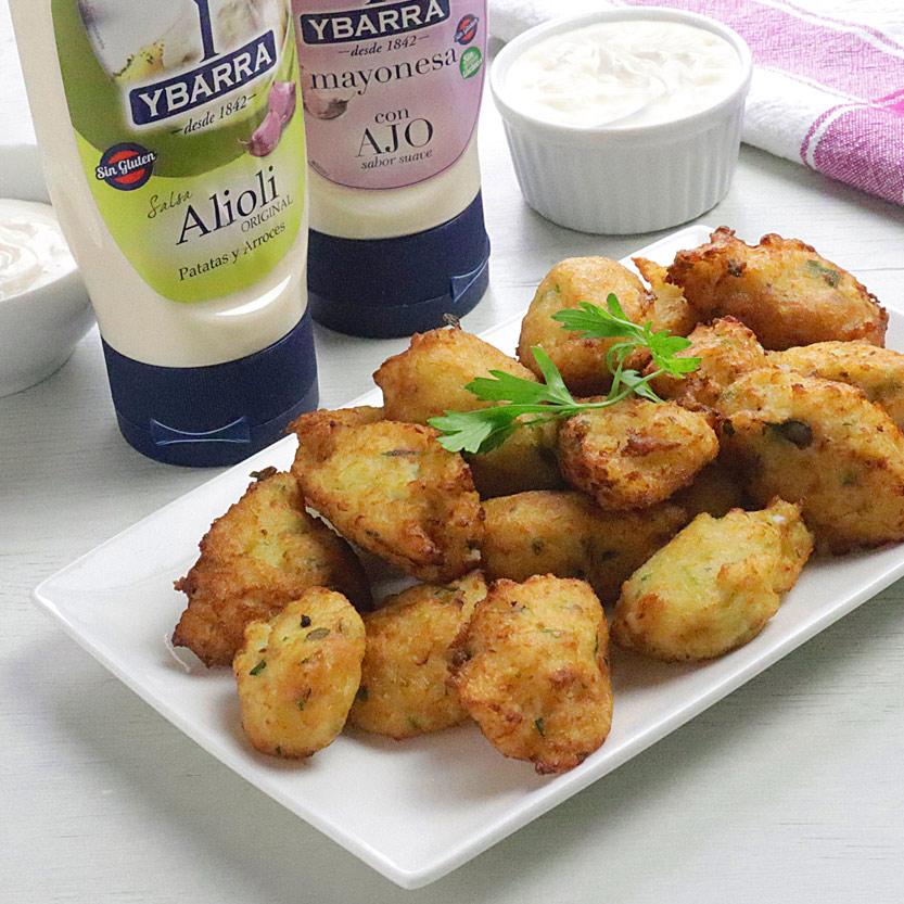 recetas ybarra de bunuelos de coliflor con alioli, mayonesa y ajo
