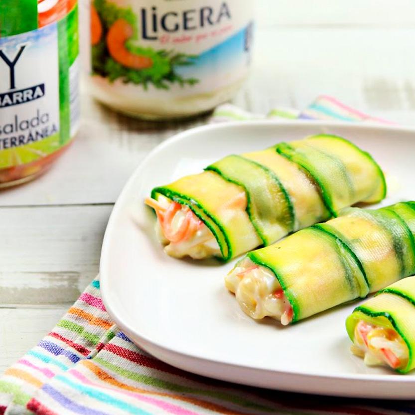 recetas ybarra canelones de calabacin y verduras con salsa ligera