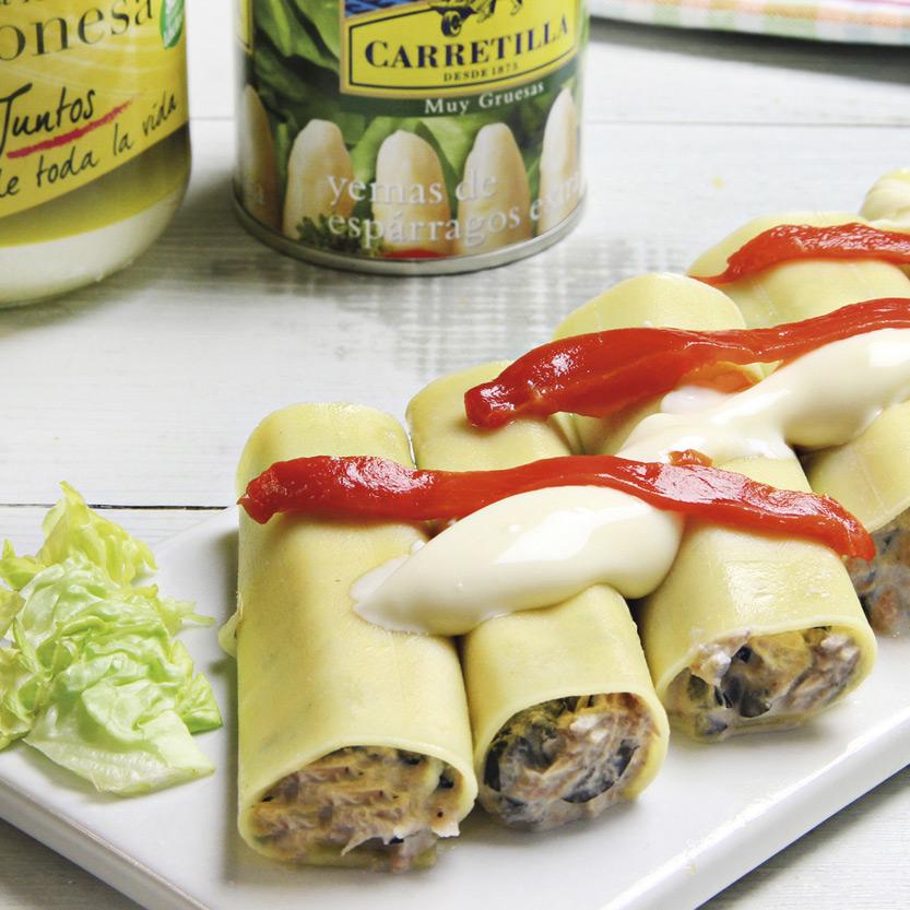 recetas ybarra de canelones con esparragos y mayonesa para verano