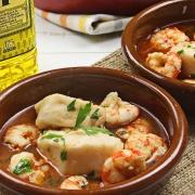 recetas ybarra cazuela de merluza con gambon y aceite de oliva virgen extra