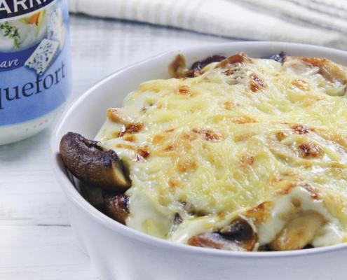 recetas ybarra de cazuelita de pollo con champi y salsa suave de roquefort