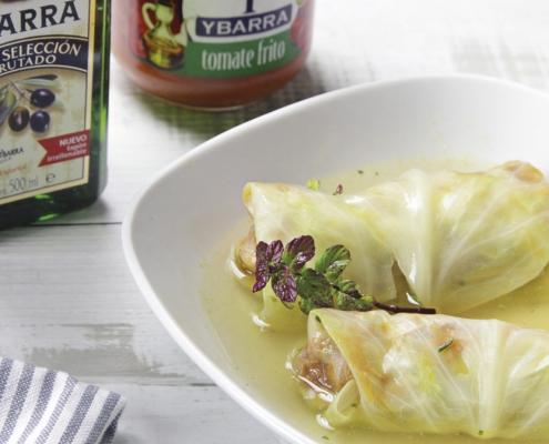 recetas ybarra col rellena de tomate frito con aceite virgen extra