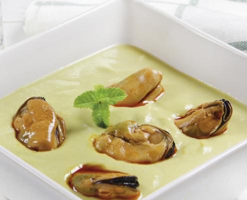 recetas ybarra crema de esparragos con mayonesa y mejillones