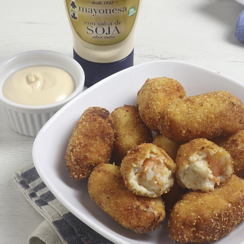 recetas ybarra croquetas de rape y langostinos con mayonesa de soja suave