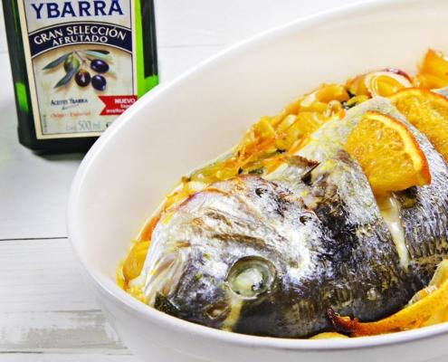 recetas ybarra dorada a la naranja con aceite de oliva afrutado