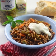 receta ybarra de fideos con verduras, judias verdes y alioli