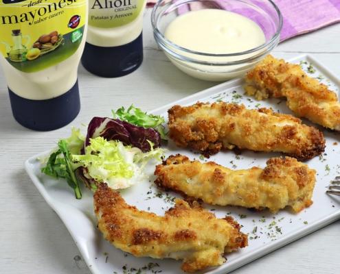 recetas ybarra finguers de pollo al horno con parmesano, mayonesa y alioli