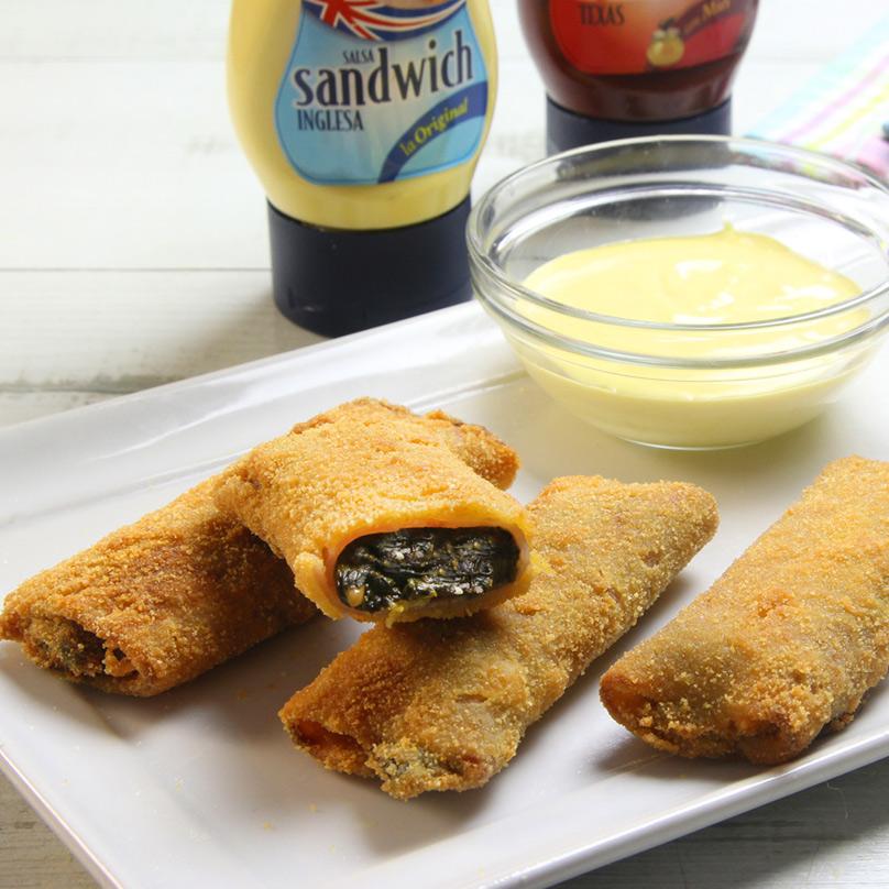 recetas ybarra flamenquines de pavo y espinacas con salsa barbacoa