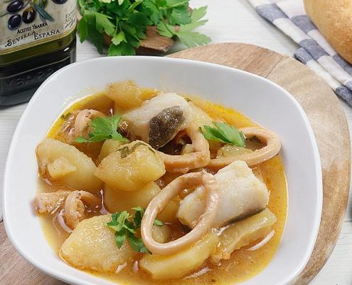 receta ybarra de guiso de bacalao y calamares