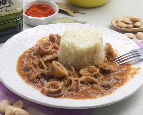 Receta ybarra de guiso de calamares con salsa de almendras virgen extra
