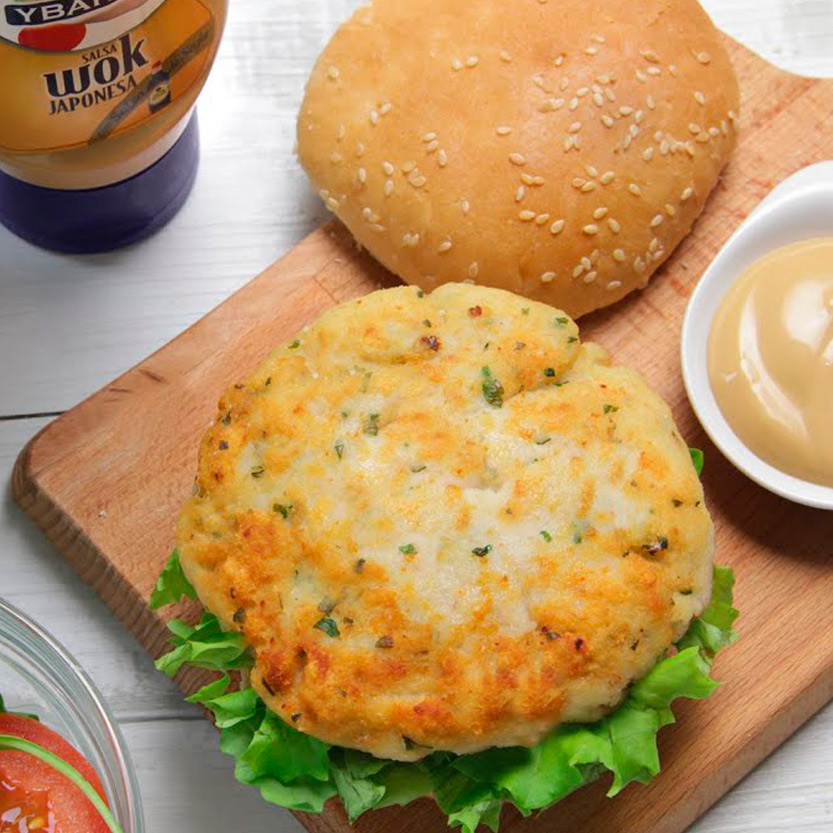 recetas ybarra hamburguesa de merluza y gambas