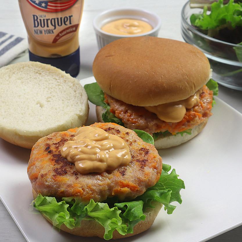 recetas ybarra hamburguesa de pollo y zanahoria con salsa burguer