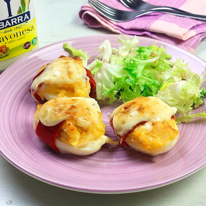 recetas ybarra huevos rellenos gratinados con pimientos del piquillo y mayonesa